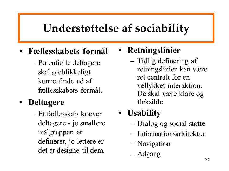 Understøttelse af sociability
