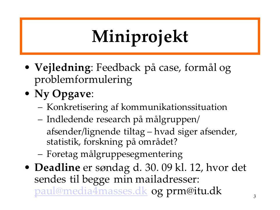 Miniprojekt Vejledning: Feedback på case, formål og problemformulering