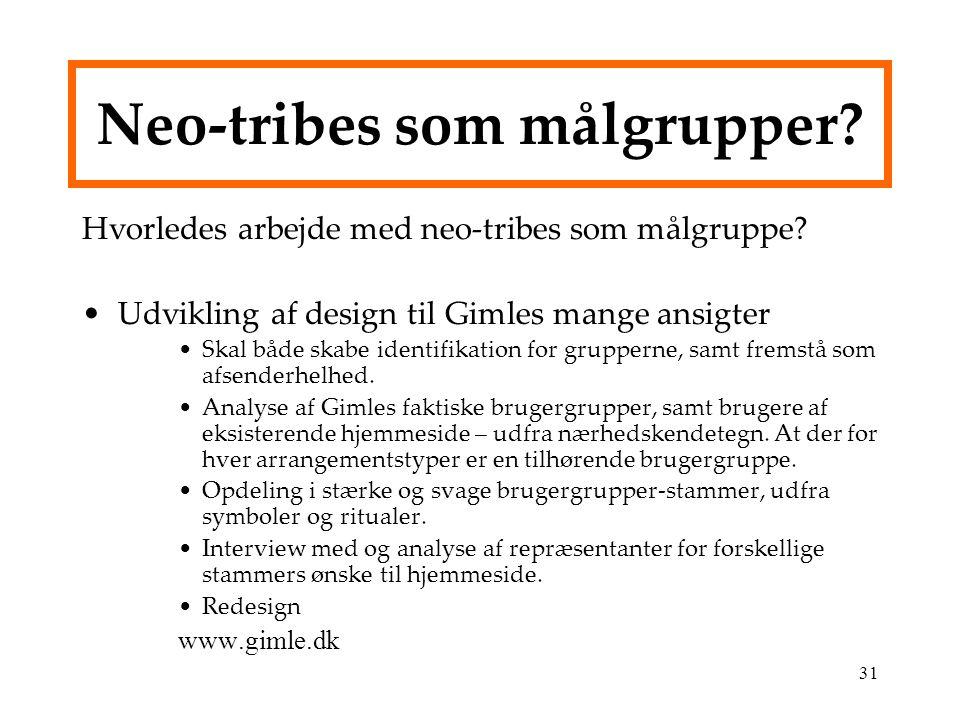 Neo-tribes som målgrupper