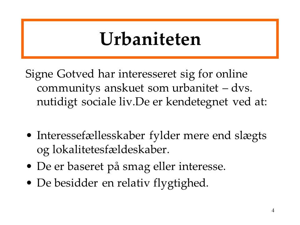 Urbaniteten Signe Gotved har interesseret sig for online communitys anskuet som urbanitet – dvs. nutidigt sociale liv.De er kendetegnet ved at: