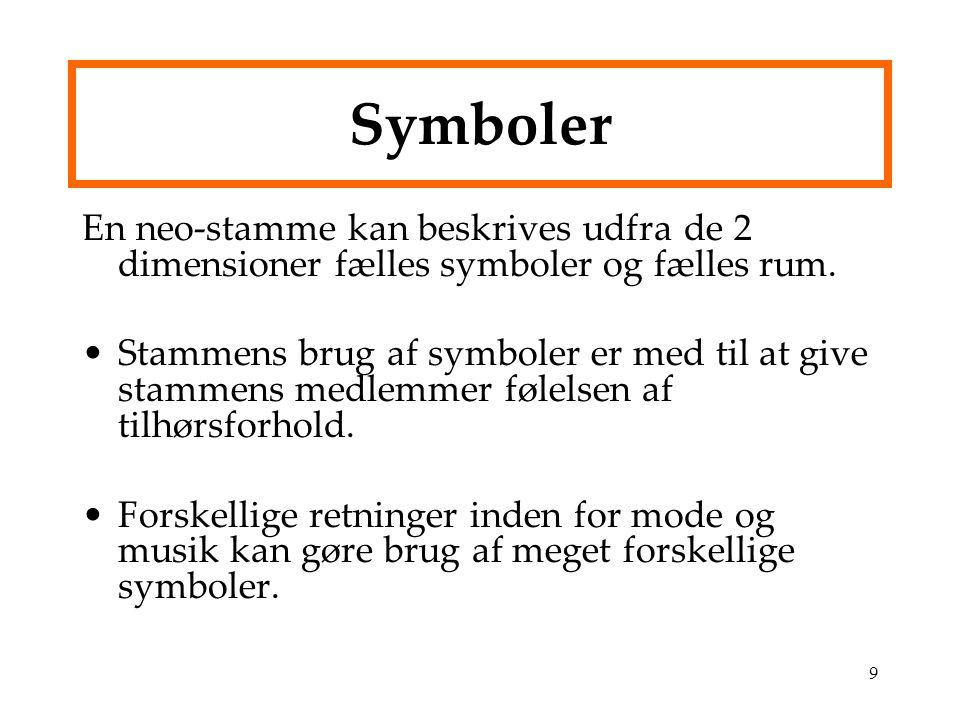 Symboler En neo-stamme kan beskrives udfra de 2 dimensioner fælles symboler og fælles rum.