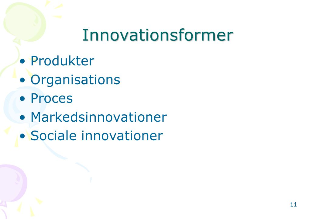 Innovationsformer Produkter Organisations Proces Markedsinnovationer