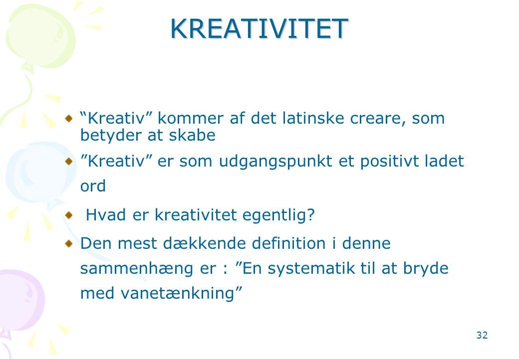 KREATIVITET Kreativ kommer af det latinske creare, som betyder at skabe. Kreativ er som udgangspunkt et positivt ladet ord.