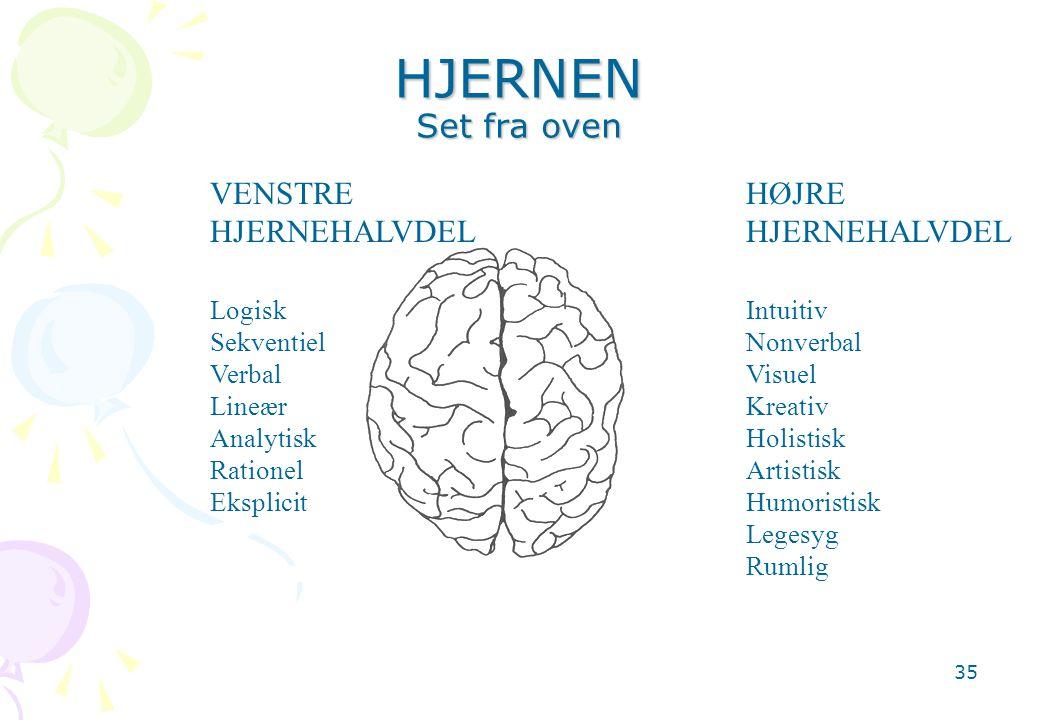 HJERNEN Set fra oven VENSTRE HJERNEHALVDEL HØJRE HJERNEHALVDEL Logisk