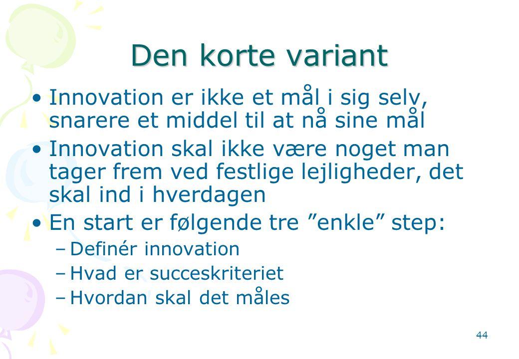 Den korte variant Innovation er ikke et mål i sig selv, snarere et middel til at nå sine mål.