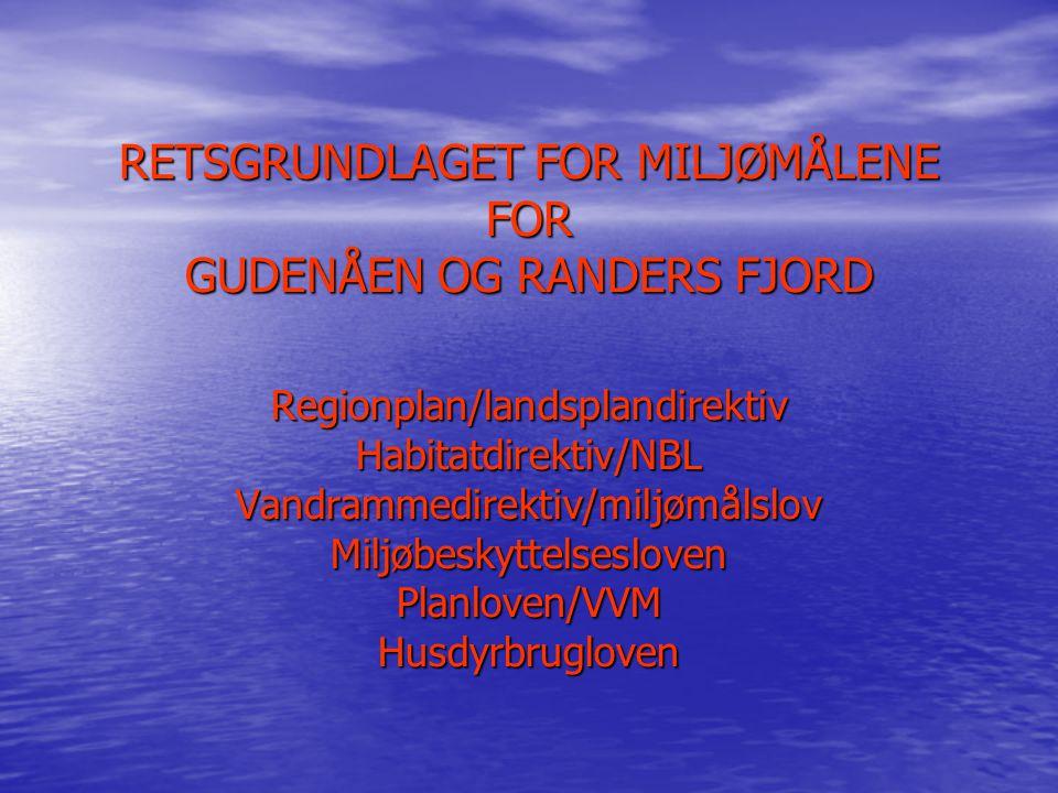 RETSGRUNDLAGET FOR MILJØMÅLENE FOR GUDENÅEN OG RANDERS FJORD Regionplan/landsplandirektiv Habitatdirektiv/NBL Vandrammedirektiv/miljømålslov Miljøbeskyttelsesloven Planloven/VVM Husdyrbrugloven