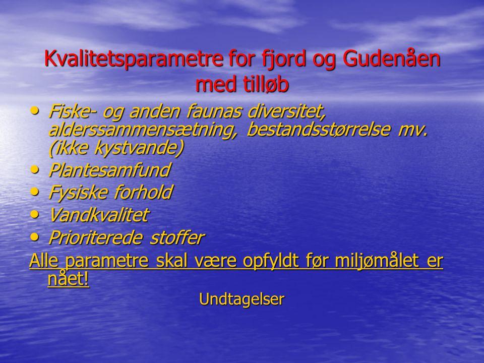 Kvalitetsparametre for fjord og Gudenåen med tilløb
