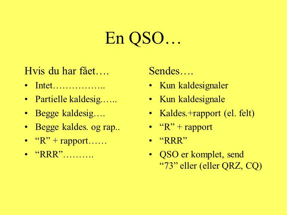En QSO… Hvis du har fået…. Sendes…. Intet……………..