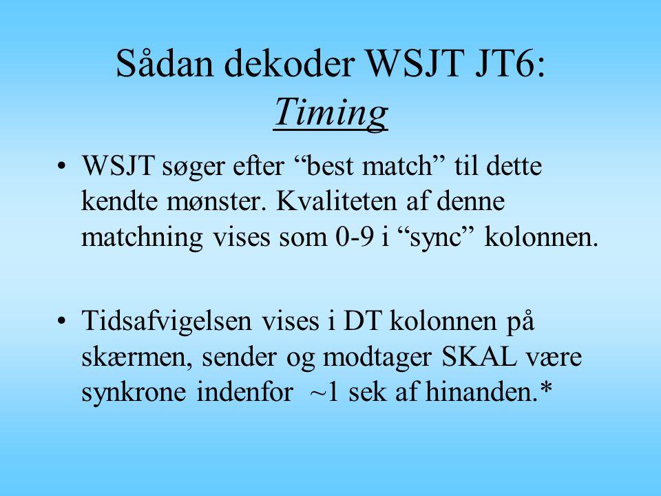 Sådan dekoder WSJT JT6: Timing