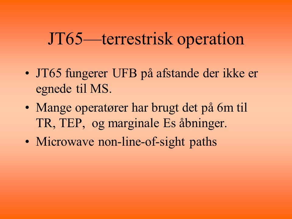 JT65—terrestrisk operation
