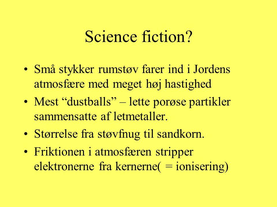 Science fiction Små stykker rumstøv farer ind i Jordens atmosfære med meget høj hastighed.