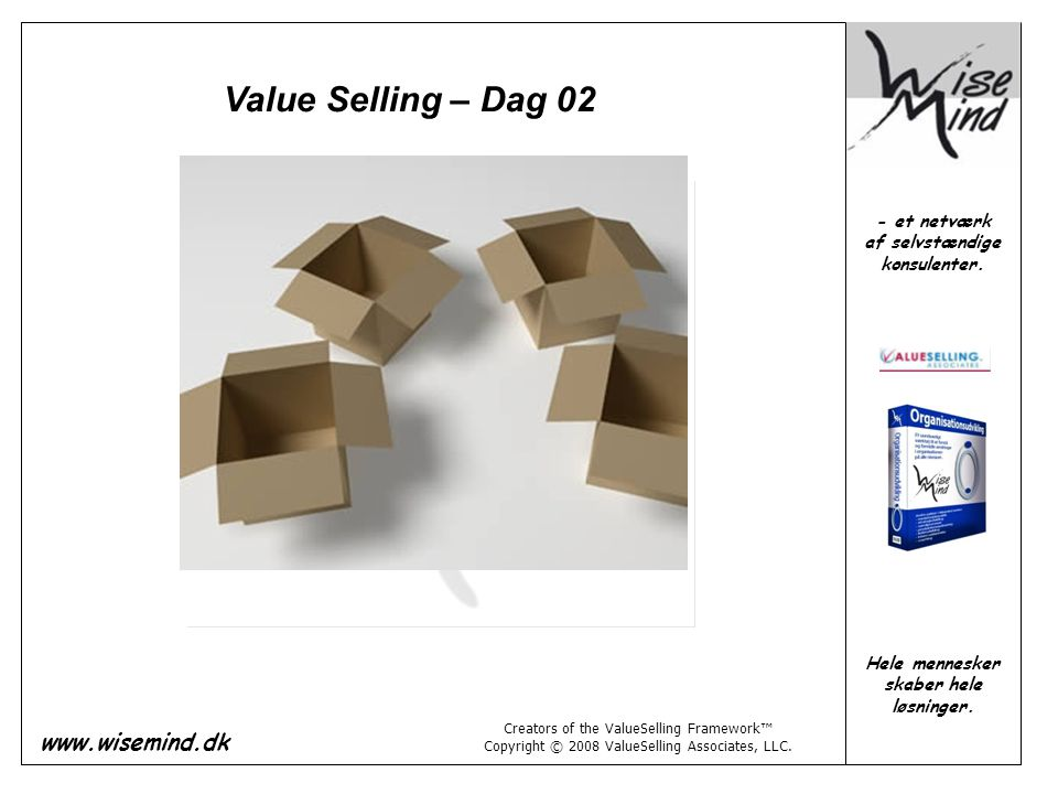 Value Selling – Dag 02 Creators of the ValueSelling Framework™