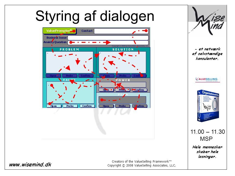 Styring af dialogen 11.00 – 11.30 MSP