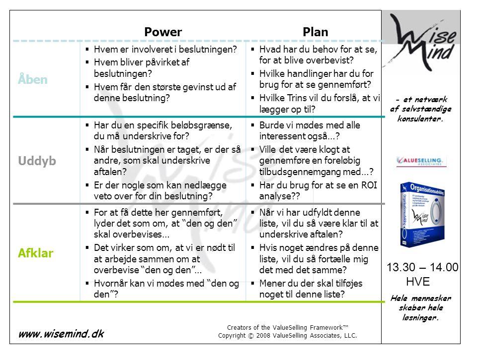 Power Plan Åben Uddyb Afklar 13.30 – 14.00 HVE