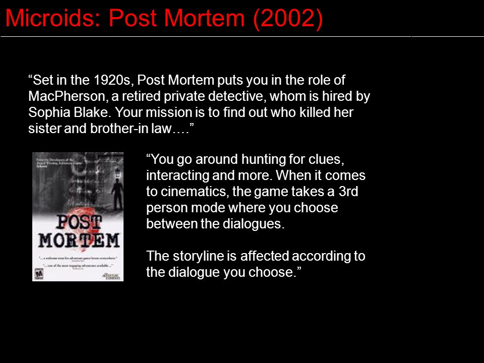Microids: Post Mortem (2002)