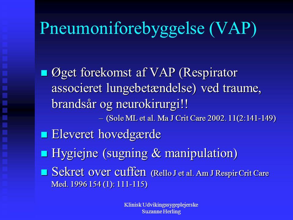 Pneumoniforebyggelse (VAP)