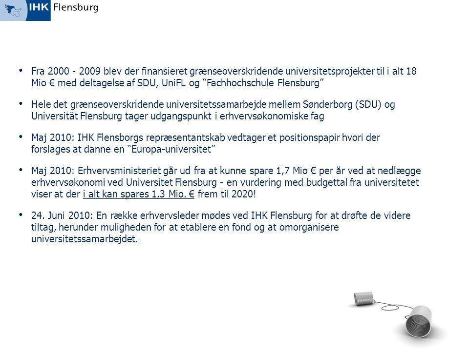 Fra 2000 - 2009 blev der finansieret grænseoverskridende universitetsprojekter til i alt 18 Mio € med deltagelse af SDU, UniFL og Fachhochschule Flensburg