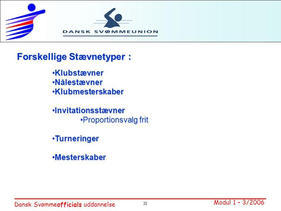 Forskellige Stævnetyper :