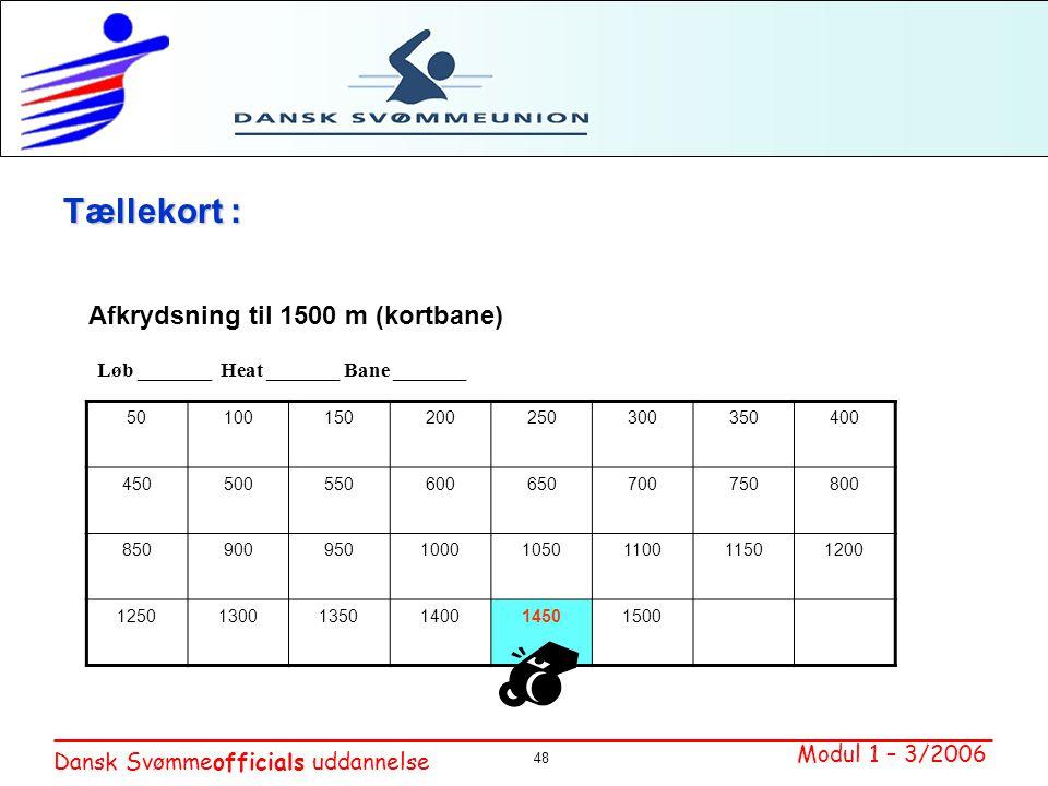 Tællekort : Afkrydsning til 1500 m (kortbane)