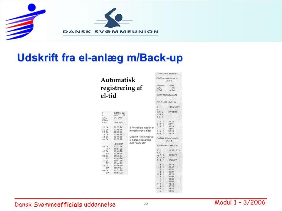 Udskrift fra el-anlæg m/Back-up