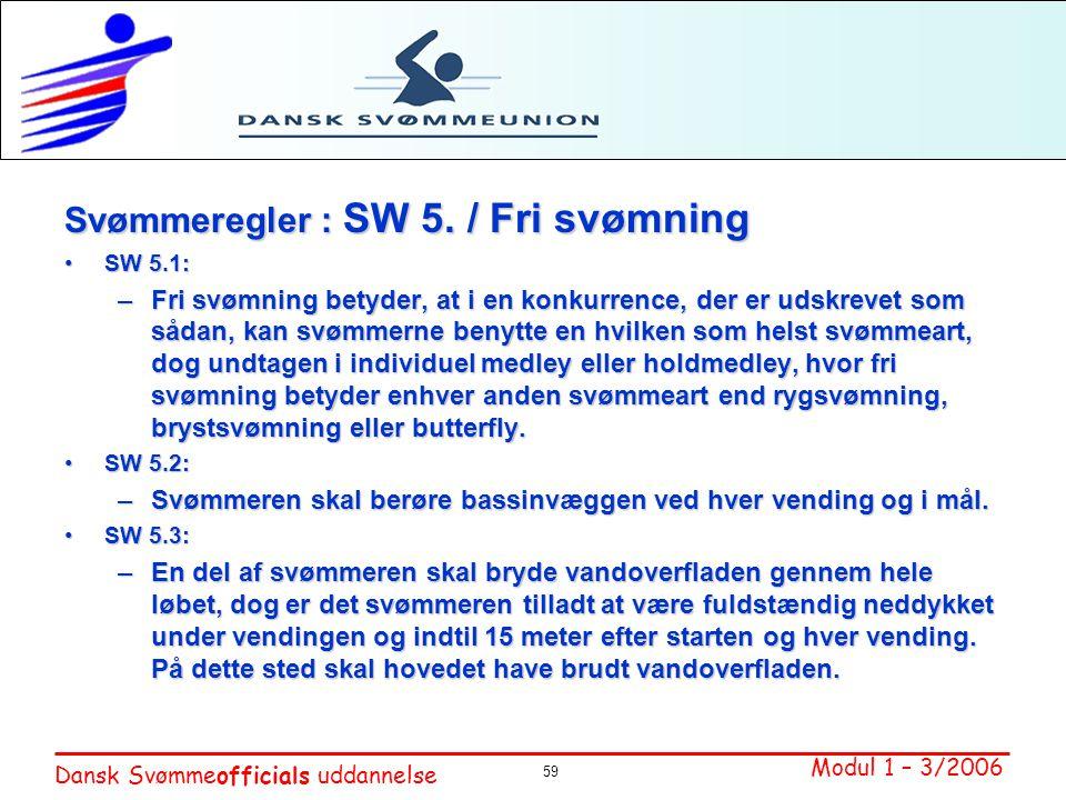 Svømmeregler : SW 5. / Fri svømning