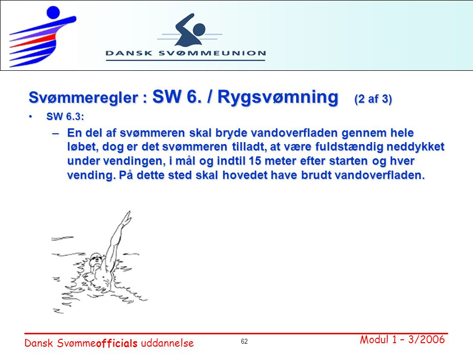 Svømmeregler : SW 6. / Rygsvømning (2 af 3)