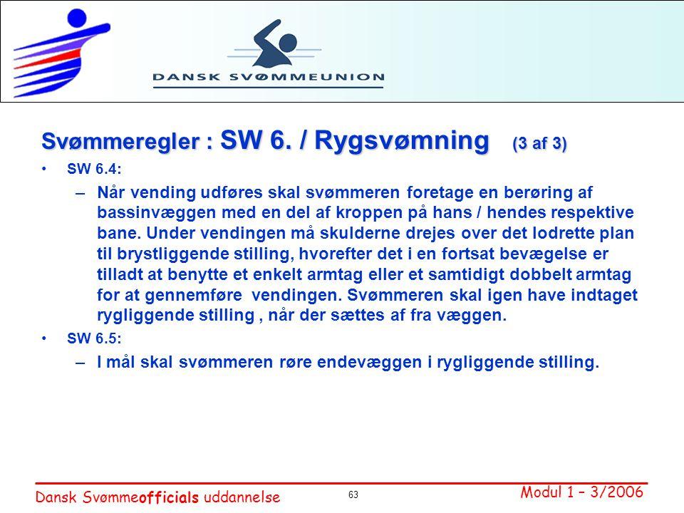 Svømmeregler : SW 6. / Rygsvømning (3 af 3)