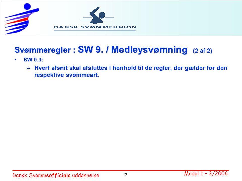 Svømmeregler : SW 9. / Medleysvømning (2 af 2)