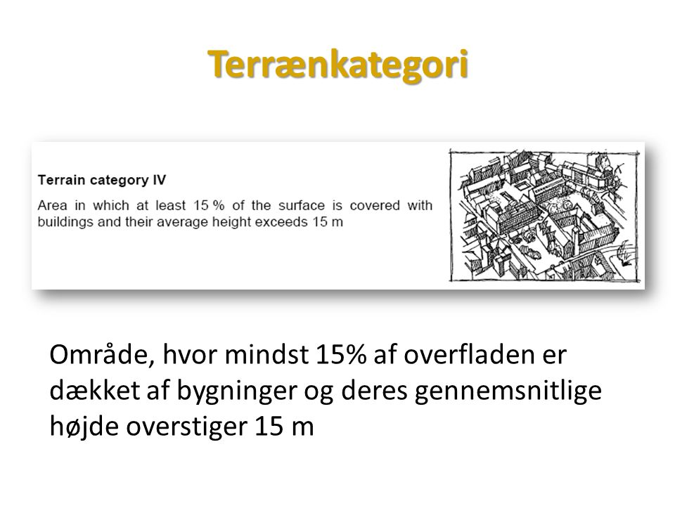 Terrænkategori Område, hvor mindst 15% af overfladen er dækket af bygninger og deres gennemsnitlige højde overstiger 15 m.