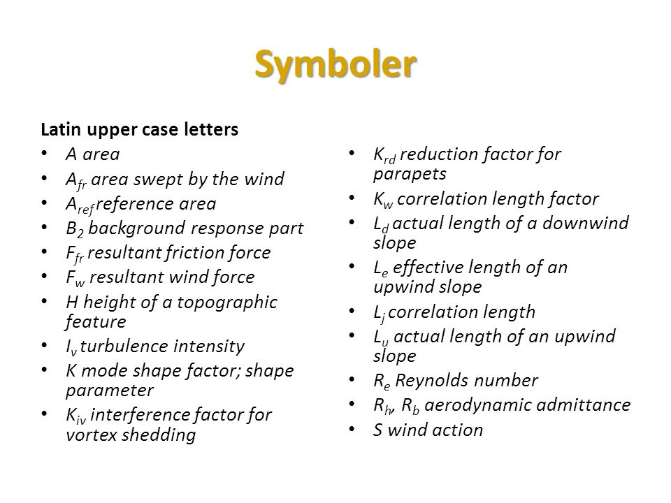 Symboler Latin upper case letters A area Afr area swept by the wind