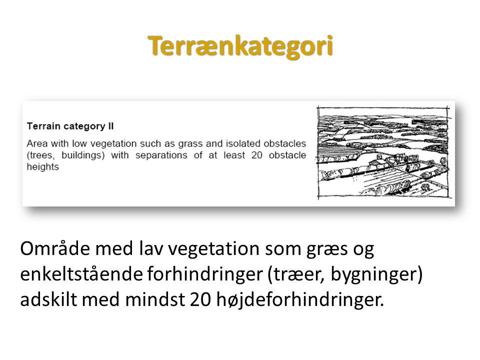 Terrænkategori Område med lav vegetation som græs og enkeltstående forhindringer (træer, bygninger) adskilt med mindst 20 højdeforhindringer.