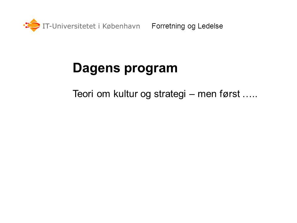 Dagens program Teori om kultur og strategi – men først …..