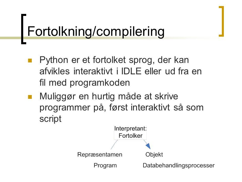 Fortolkning/compilering