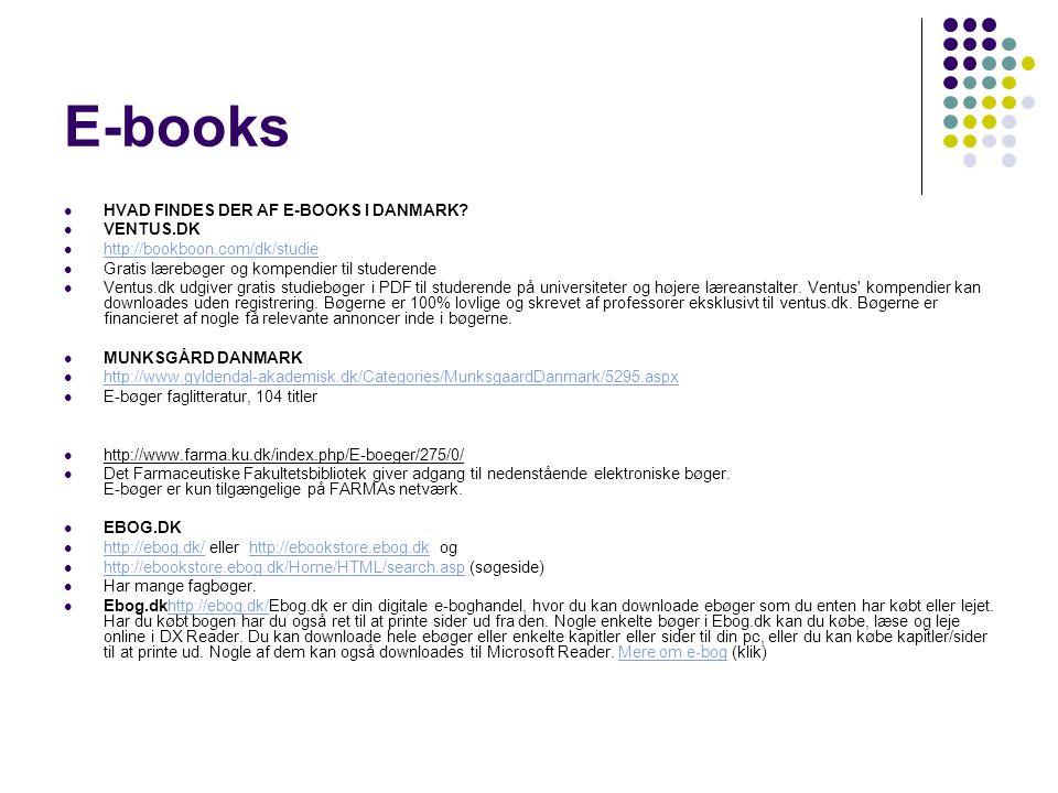 E-books HVAD FINDES DER AF E-BOOKS I DANMARK VENTUS.DK
