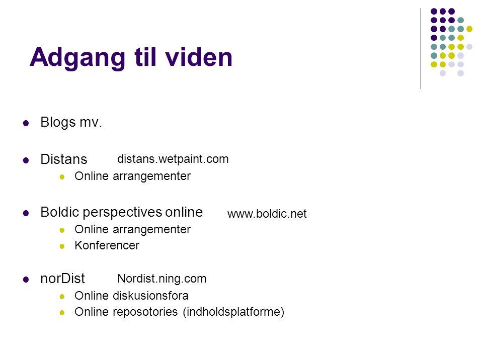 Adgang til viden Blogs mv. Distans Boldic perspectives online norDist