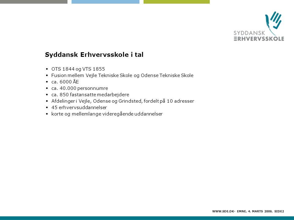 Syddansk Erhvervsskole i tal