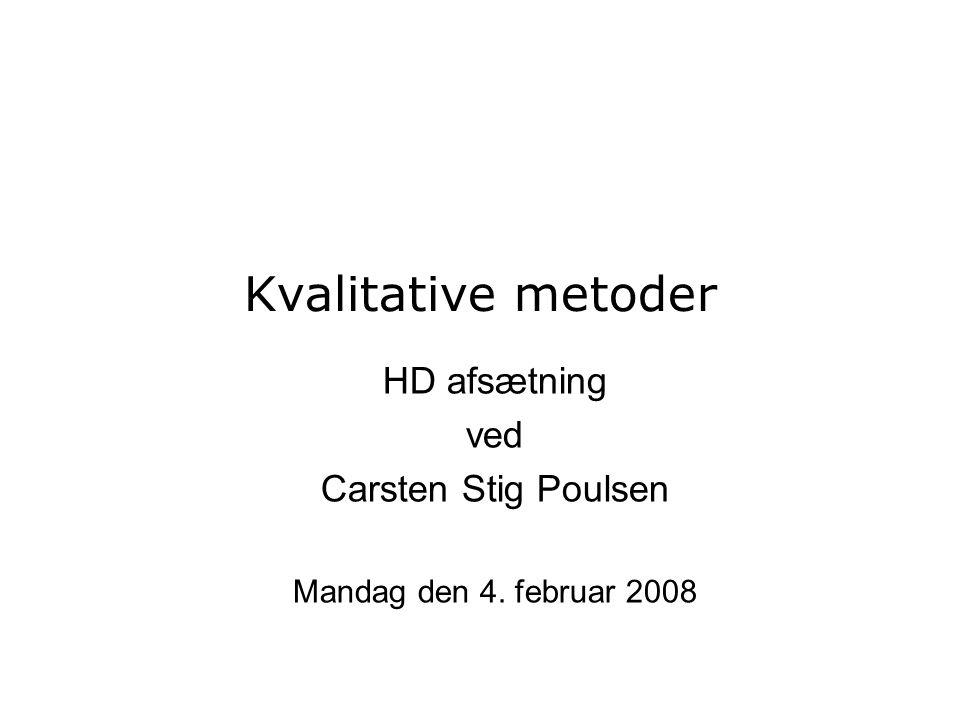 HD afsætning ved Carsten Stig Poulsen Mandag den 4. februar 2008