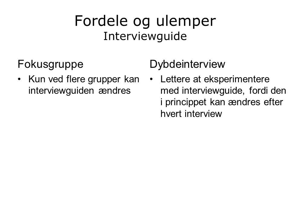 Fordele og ulemper Interviewguide