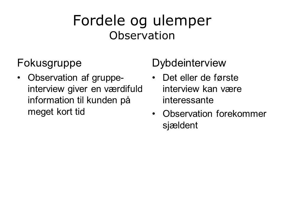 Fordele og ulemper Observation