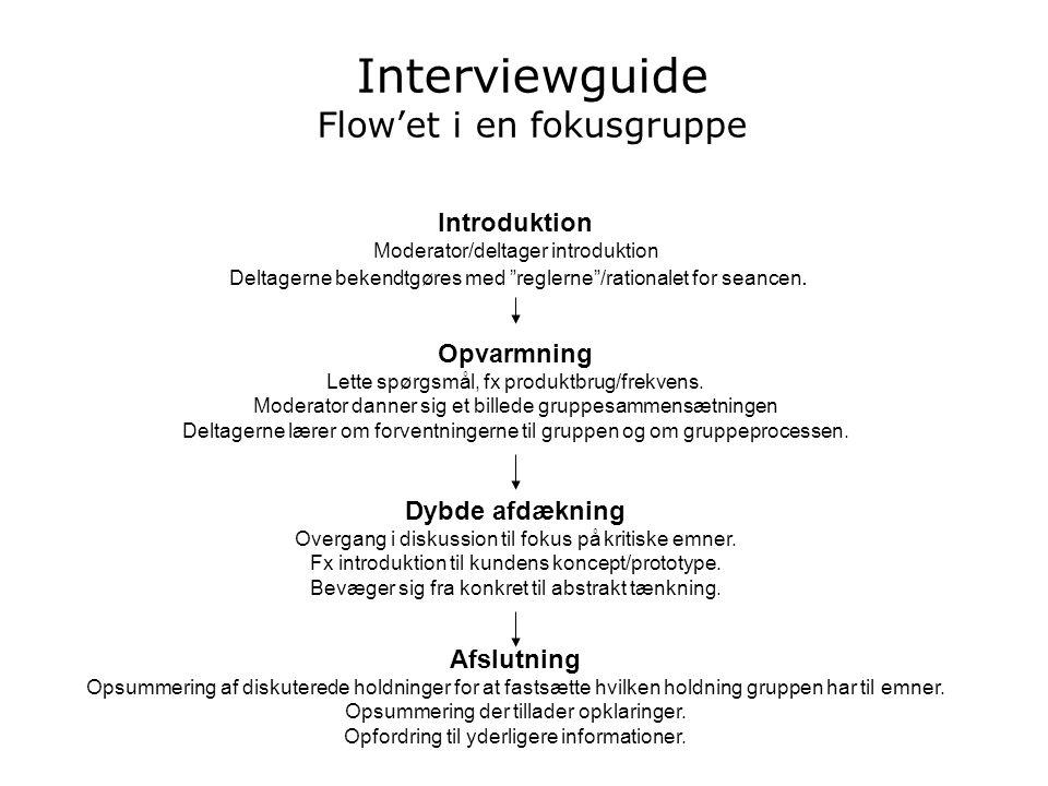 Interviewguide Flow'et i en fokusgruppe