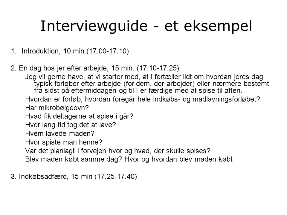 Interviewguide - et eksempel
