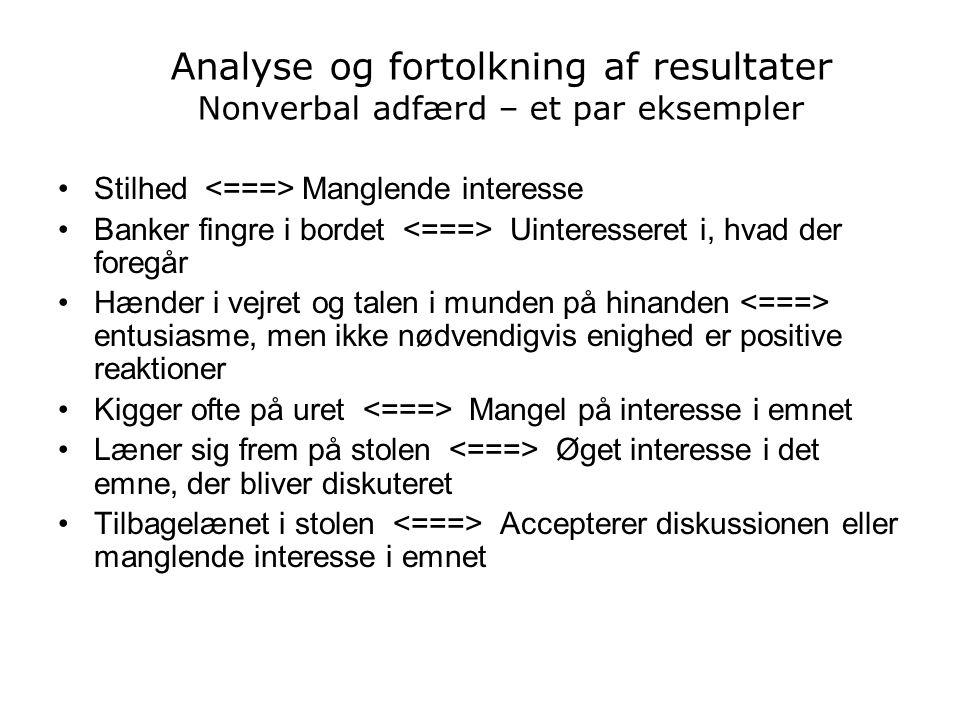 Analyse og fortolkning af resultater Nonverbal adfærd – et par eksempler