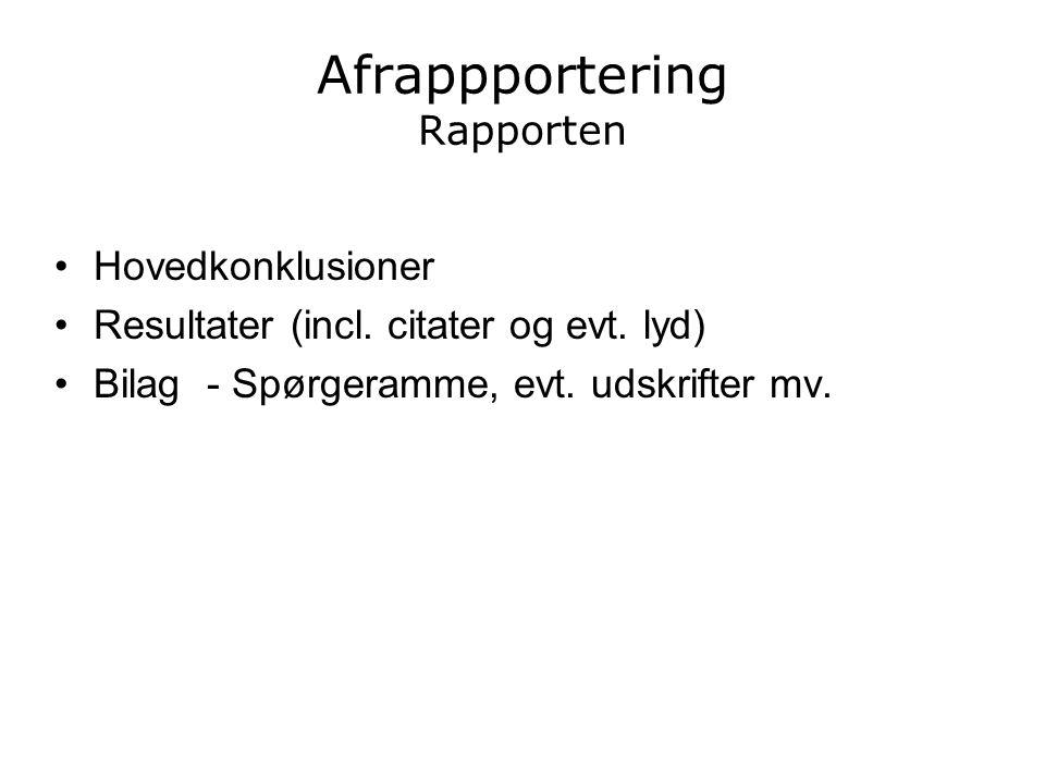 Afrappportering Rapporten