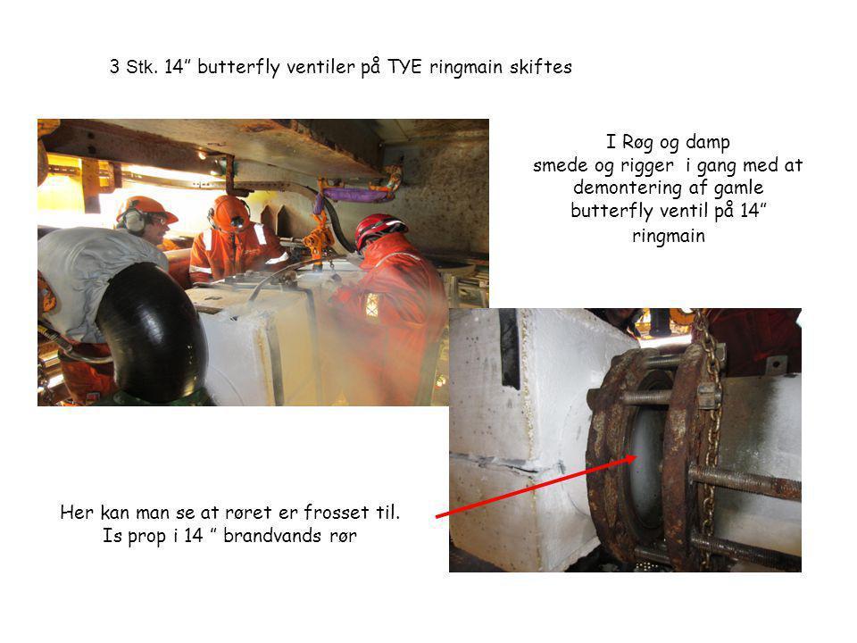 3 Stk. 14 butterfly ventiler på TYE ringmain skiftes
