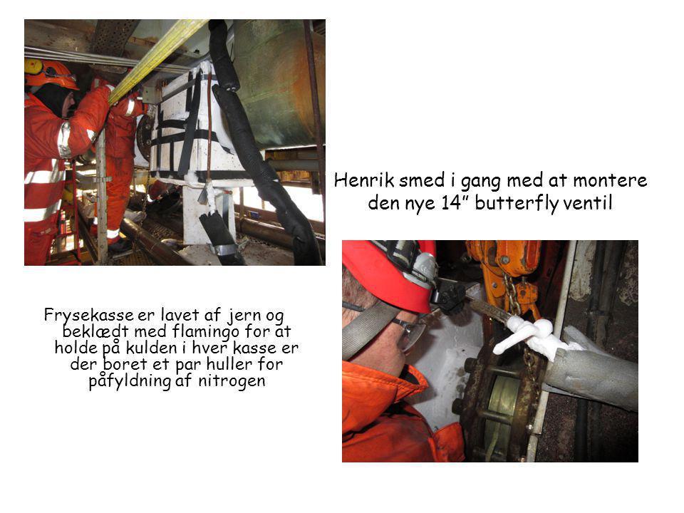 Henrik smed i gang med at montere den nye 14 butterfly ventil