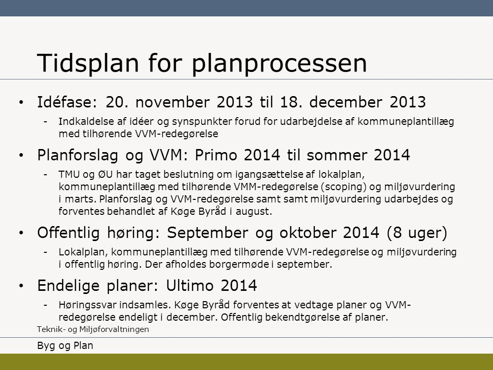 Tidsplan for planprocessen