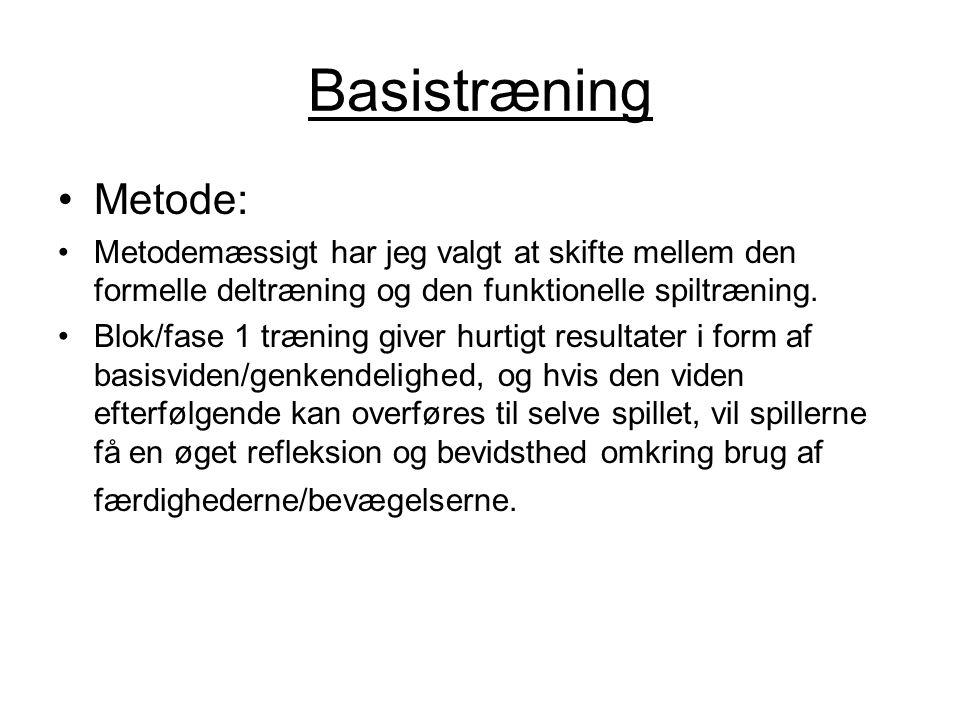 Basistræning Metode: Metodemæssigt har jeg valgt at skifte mellem den formelle deltræning og den funktionelle spiltræning.