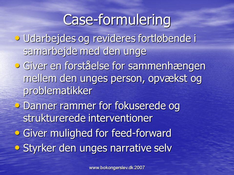 Case-formulering Udarbejdes og revideres fortløbende i samarbejde med den unge.