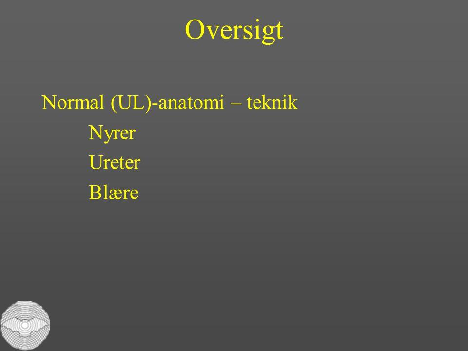 Oversigt Normal (UL)-anatomi – teknik Nyrer Ureter Blære