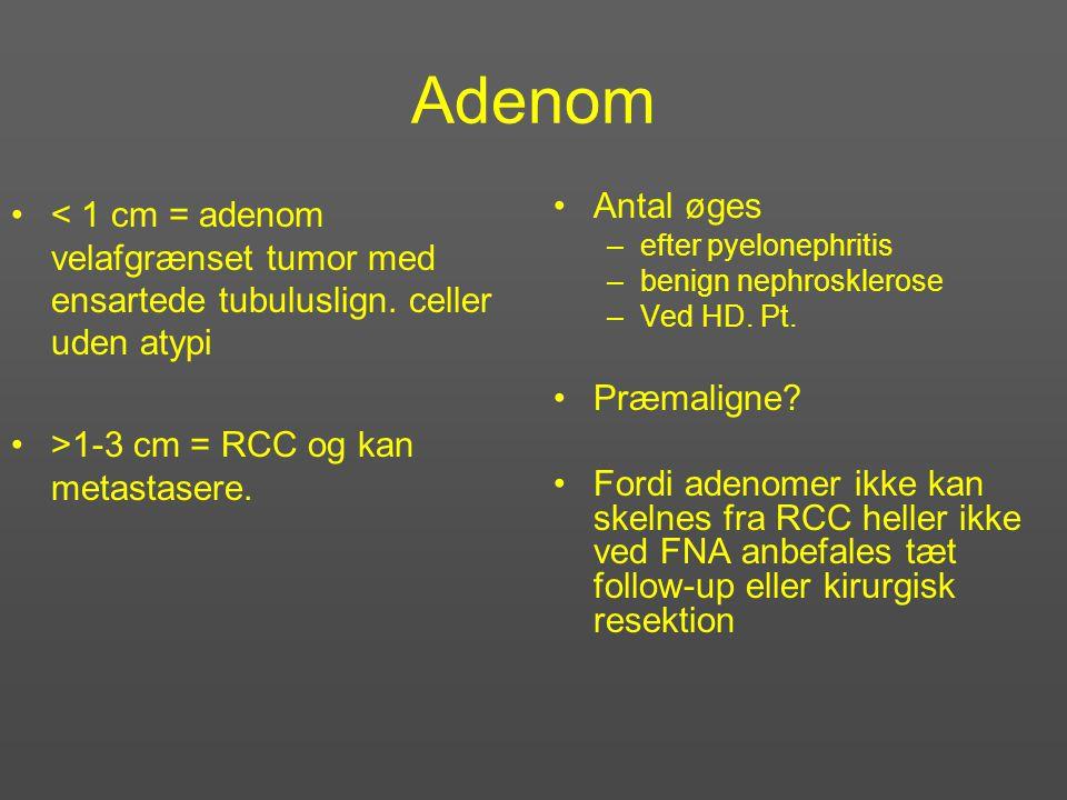 Adenom < 1 cm = adenom velafgrænset tumor med ensartede tubuluslign. celler uden atypi. >1-3 cm = RCC og kan metastasere.